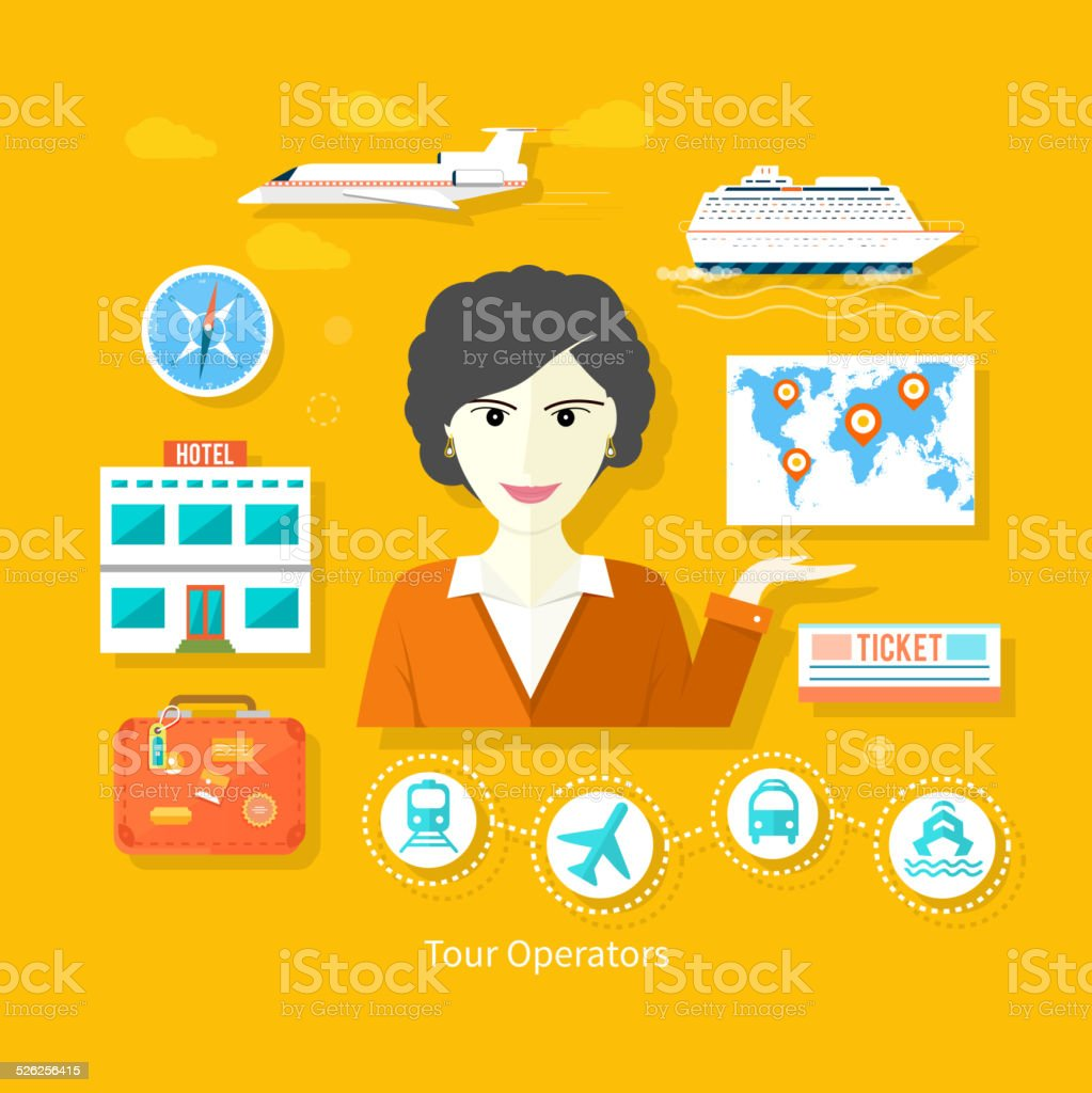 Female travel agent holding globe with pointers vector art illustration