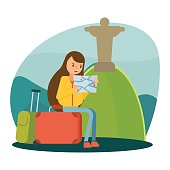 female travelers are reading maps and vacation holiday in rio de janeiro jesus statue, cartoon character