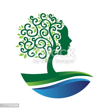 abstract beautiful tree with woman face, water wave, and green field, vector