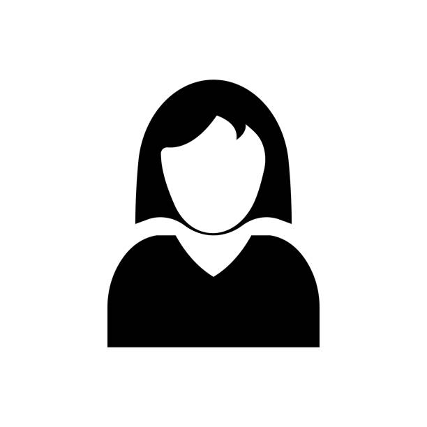 female user account or user profile flat icon for apps and websites - head and shoulders stock illustrations, clip art, cartoons, & icons
