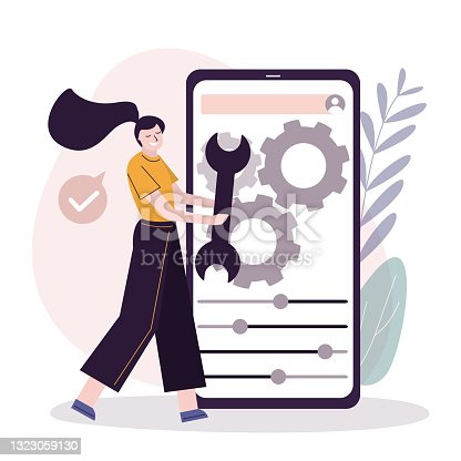 istock Female user customize settings on phone screen. Phone screen with users personal page. User interface customization, programming 1323059130