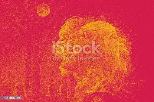 Stipple illustration of a Female vampire howling at the moon in a cemetery