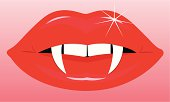 Illustration of a female vampires mouth and fangs