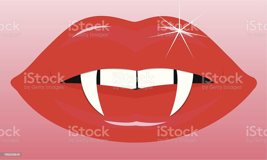 Female Vampire Mouth vector art illustration