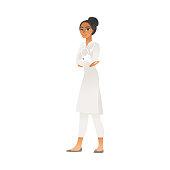 Female veterinarian doctor stands holding white rabbit cartoon style