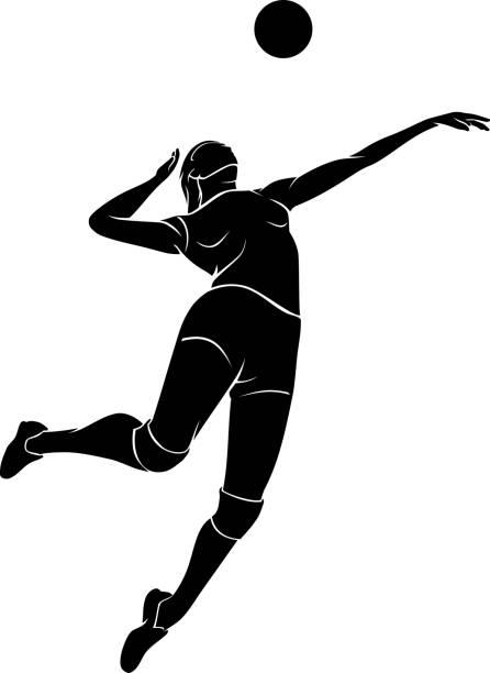 illustrations, cliparts, dessins animés et icônes de volleyball féminin mid air - volley ball