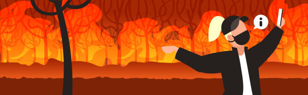 illustrazioni stock, clip art, cartoni animati e icone di tendenza di female volunteer or firefighter taking selfie on smartphone camera dangerous wildfire bushfire global warming natural disaster concept intense orange flames horizontal portrait - woman portrait forest