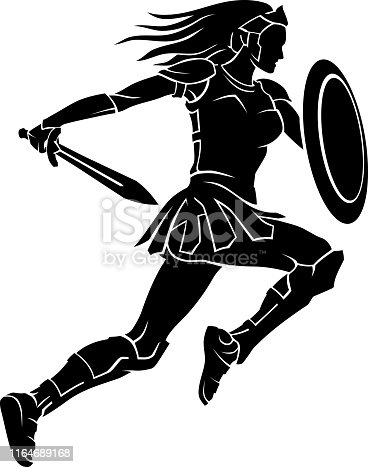 Isolated vector illustration of medieval female warrior with shield and sword