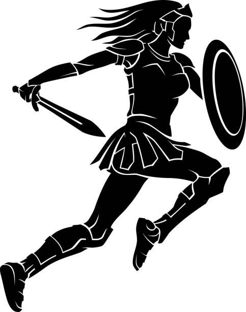 Female Warrior Leap vector art illustration