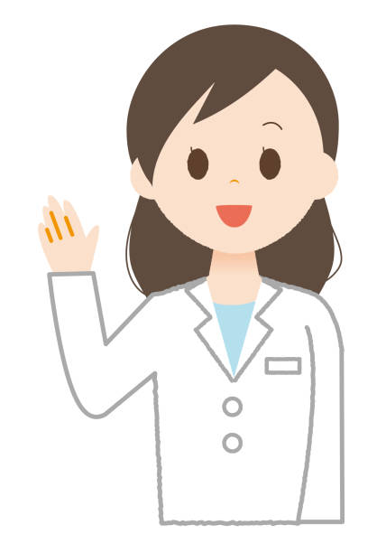 Female wears white explaining something. Female wears white explaining something. 病院 stock illustrations