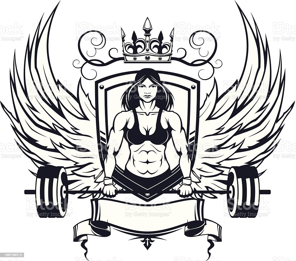 female weightlifter emblem royalty-free stock vector art