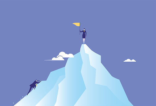Female white-collar worker climbs to the top of the mountain