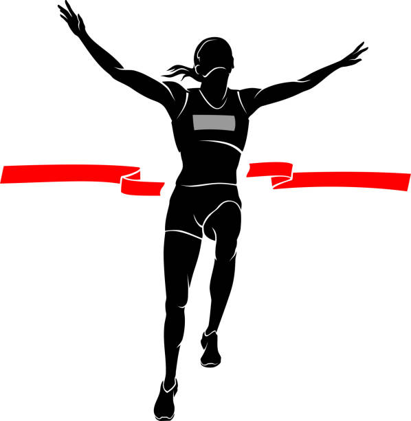 Female Winner Run Race vector art illustration