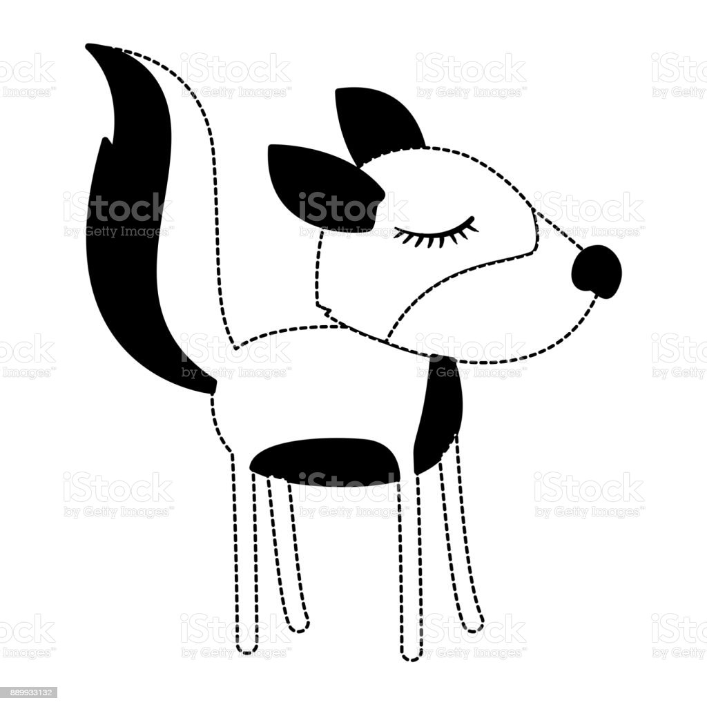 Female Wolf Cartoon With Closed Eyes Expression In Black Dotted