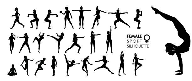 active silhouettes stock illustrations