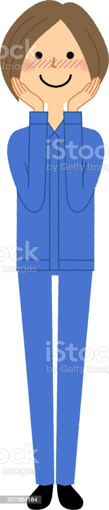 Female worker, Be shy It is an illustration of a shining female worker. Adult stock vector