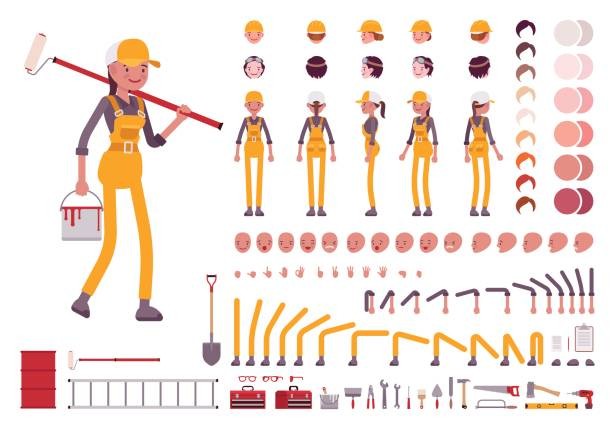 Female worker character creation set Female worker character creation set. Full length, different views, emotions, gestures, isolated against white background. Build your own design. Cartoon flat-style infographic illustration house painter stock illustrations