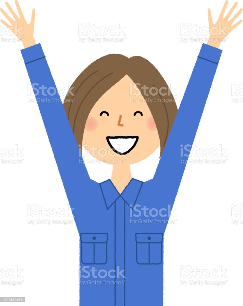 Female worker, Cheers It is an illustration of a female worker who raises both hands. Adult stock vector