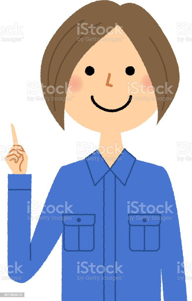 Female worker, Finger pointing It is an illustration of a female worker pointing a finger. Adult stock vector