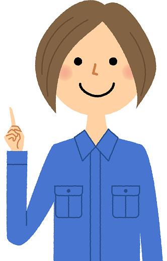 Female Worker Finger Pointing Stock Illustration - Download Image Now