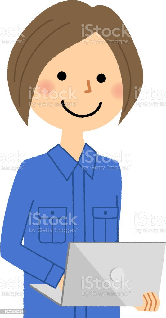 Female worker, Laptop - Royalty-free Adult stock vector
