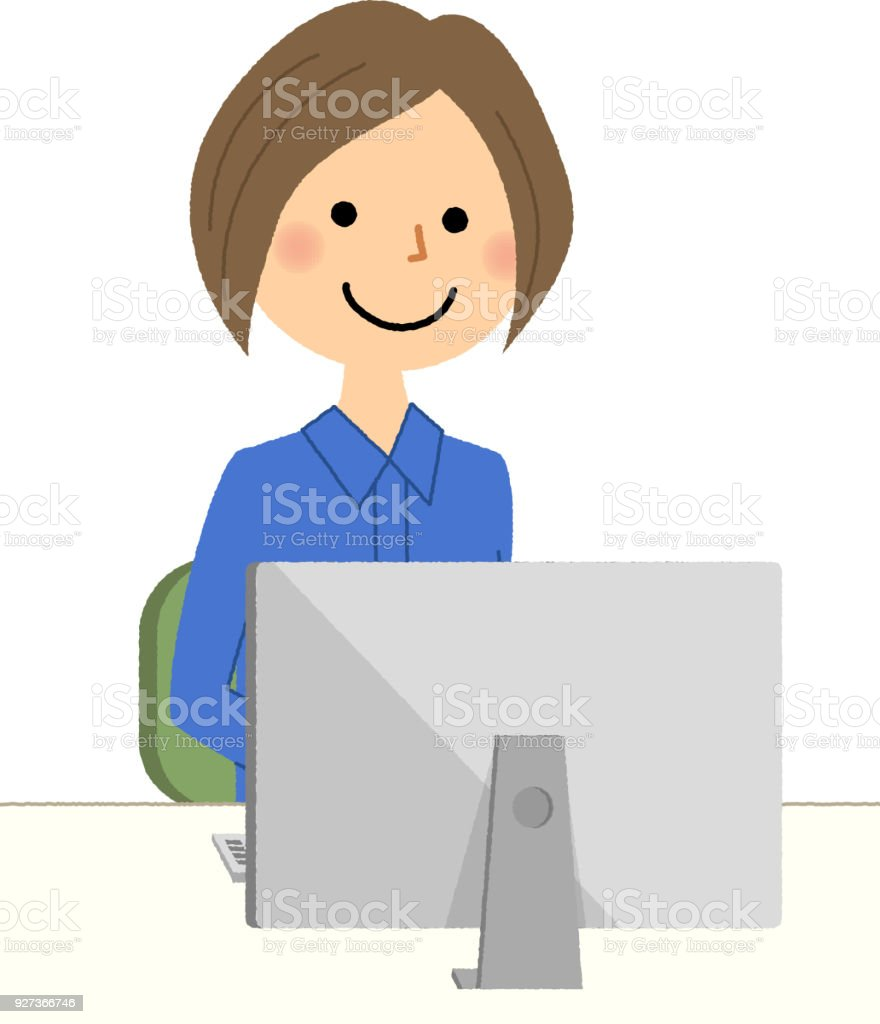 Female worker, PC It is an illustration of a female worker operating a personal computer. Adult stock vector