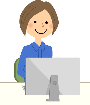 Female Worker Pc Stock Illustration - Download Image Now