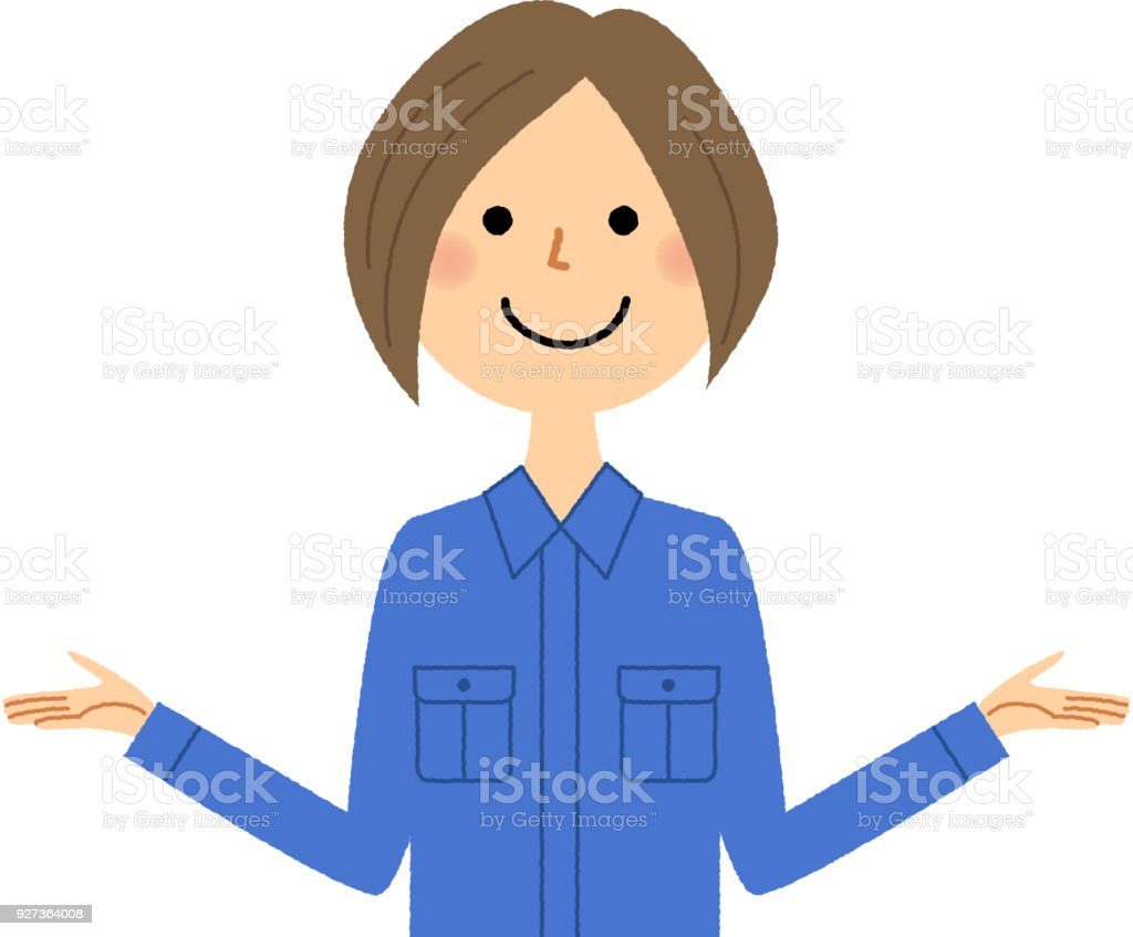 Female worker, Spread both hands - Royalty-free Adult stock vector