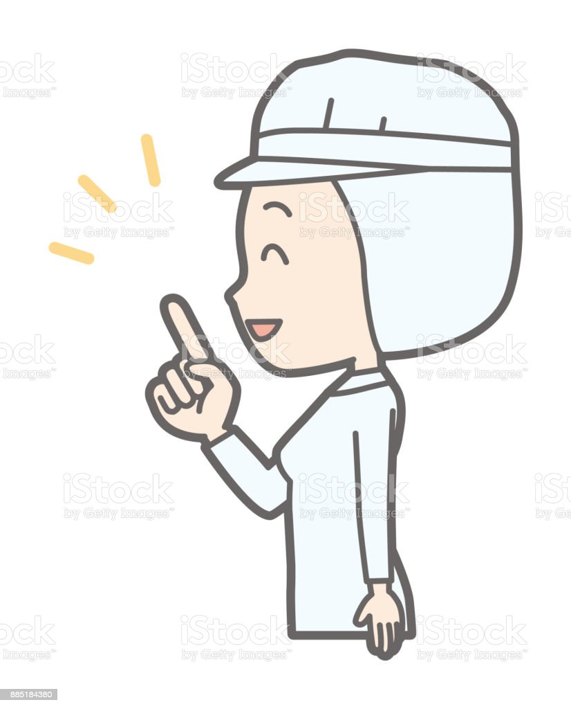A female worker wearing white sanitary clothes points to the side and points it. vector art illustration
