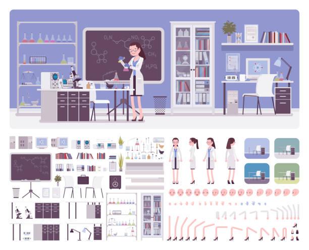 ilustrações de stock, clip art, desenhos animados e ícones de female young scientist working in laboratory - scientist