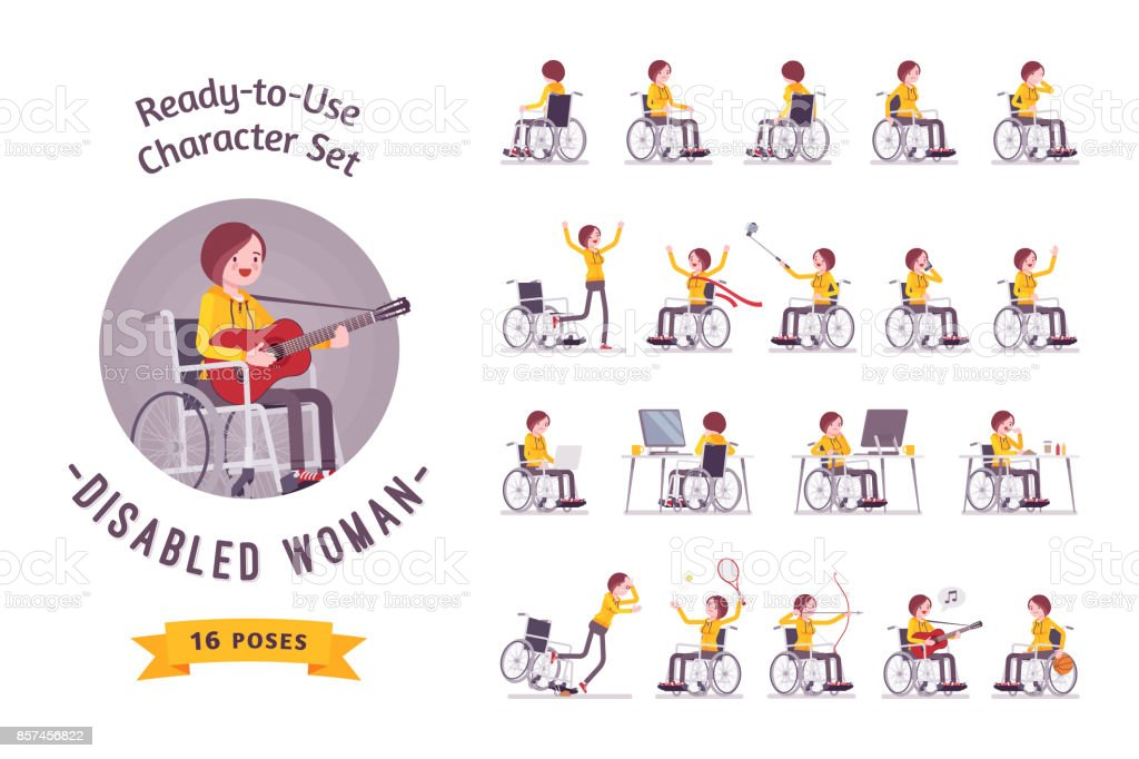Female young wheelchair user character set, various poses vector art illustration