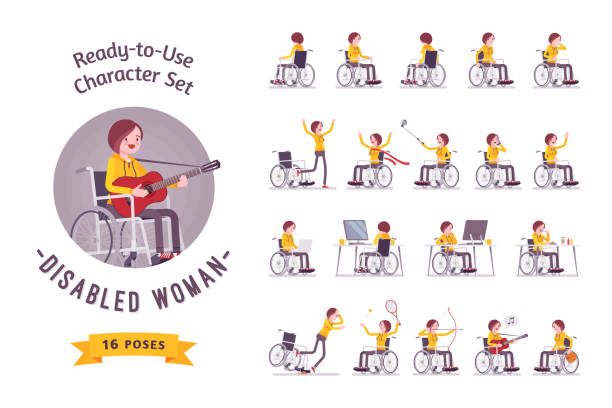 female young wheelchair user character set, various poses - wheelchair sports stock illustrations, clip art, cartoons, & icons