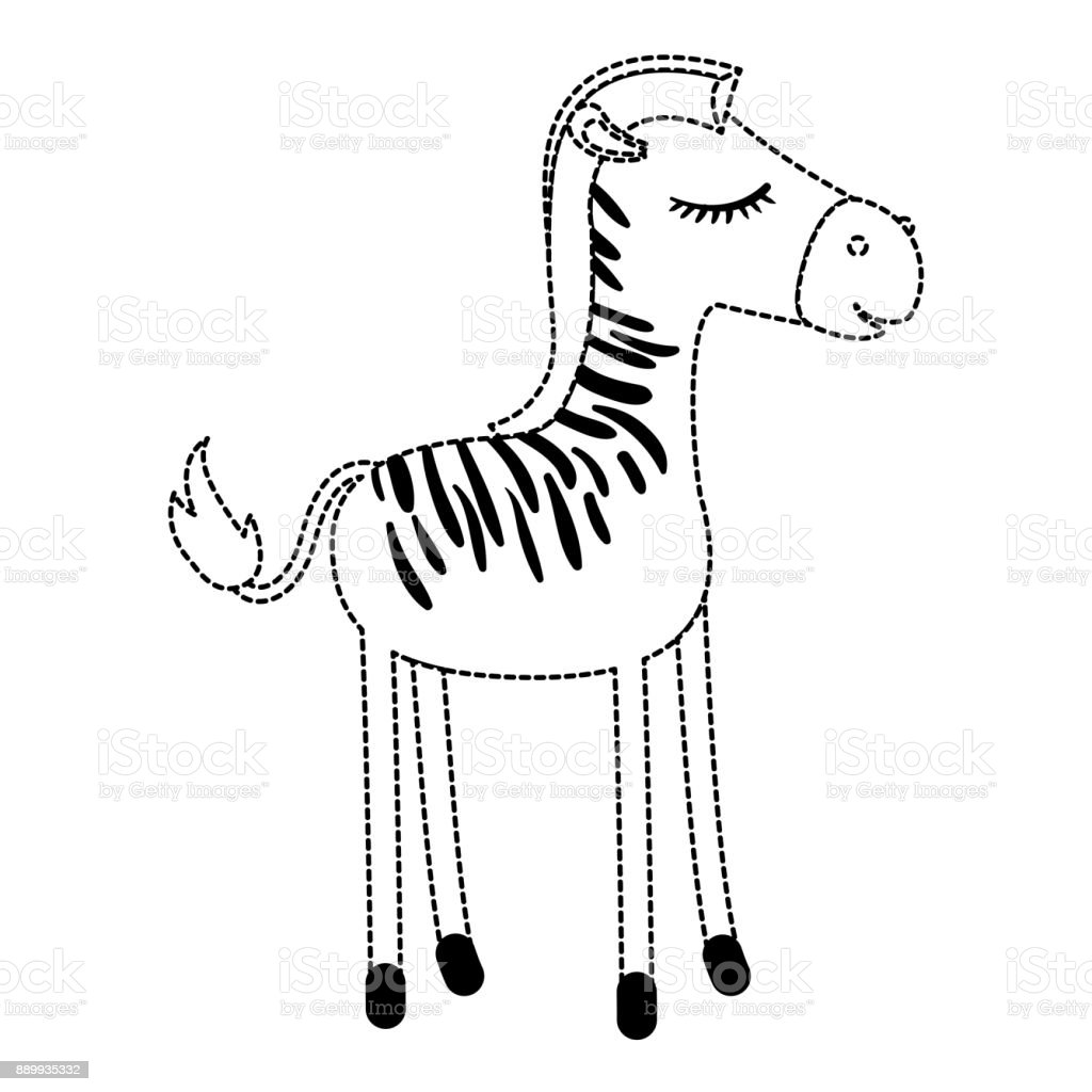 Female Zebra Cartoon With Closed Eyes Expression In Black Dotted