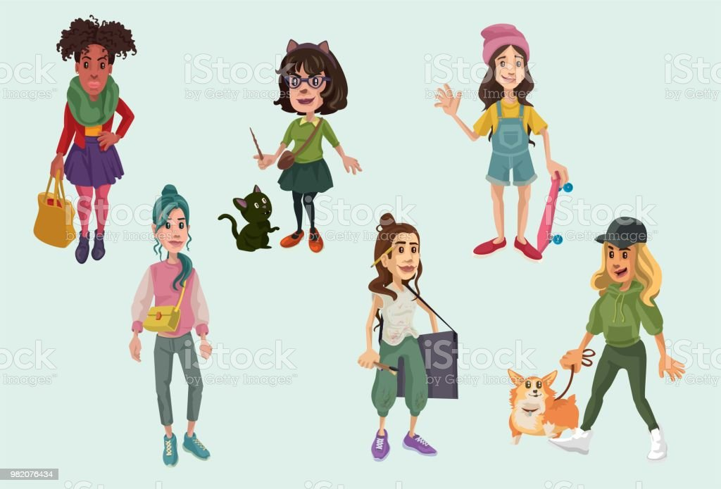 FemaleFemale Characters 2 vector art illustration