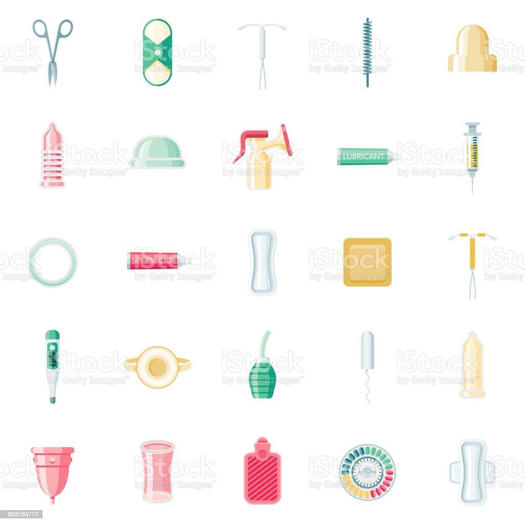 Feminine Pflege-flaches Design-Icon-Set - Lizenzfrei Antibabypille Vektorgrafik