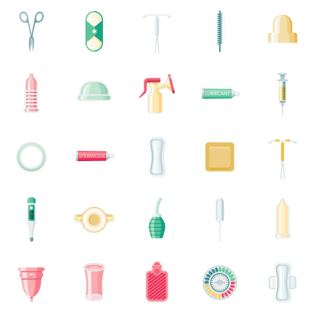 Feminine Care Flat Design Icon Set A set of 25 feminine care and reproduction/contraception flat design icons on a transparent background. File is built in the CMYK color space for optimal printing. Color swatches are Global for quick and easy color changes. spermicide stock illustrations
