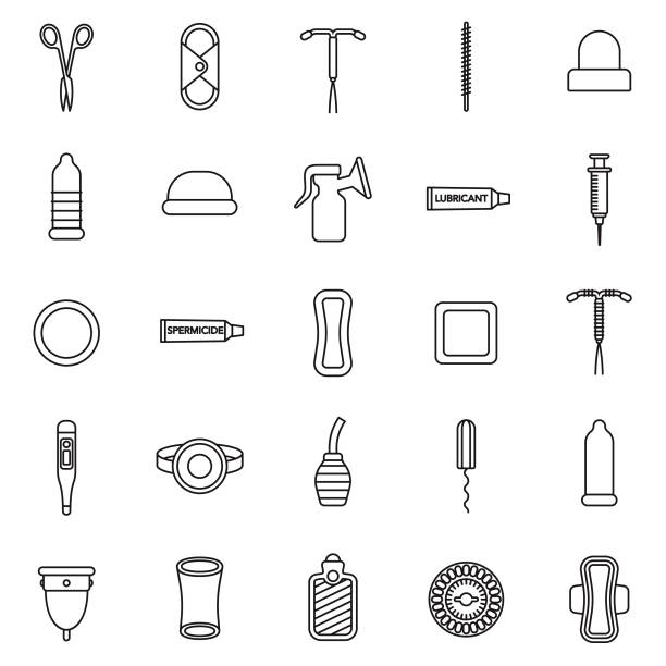 feminine care thin line icon set - family planning stock illustrations, clip art, cartoons, & icons