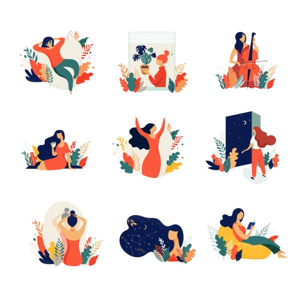 illustrazioni stock, clip art, cartoni animati e icone di tendenza di feminine concept illustration, beautiful women in different situations. international women's day. flat style vector design set stock vectors - dream
