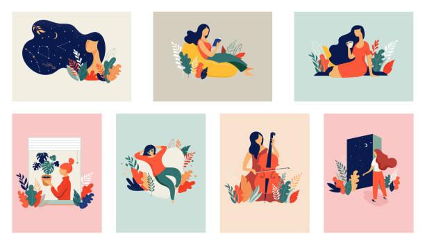 ilustrações, clipart, desenhos animados e ícones de ilustração do conceito feminino, mulheres bonitas em diferentes situações. dia internacional da mulher. desenho de vetor de estilo plano conjunto de vetores de ações - woman happy