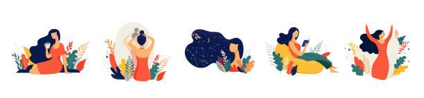 ilustrações, clipart, desenhos animados e ícones de ilustração do conceito feminino, mulheres bonitas em diferentes situações. dia internacional das mulheres. desenho de vetor de estilo plano conjunto de vetores de ações - woman happy