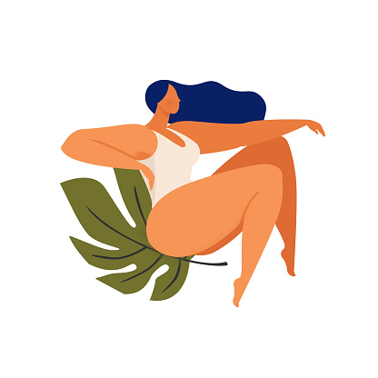 Feminine concept illustration with beautiful sitting on monstera leaf. International women s day. Flat style vector design vector.