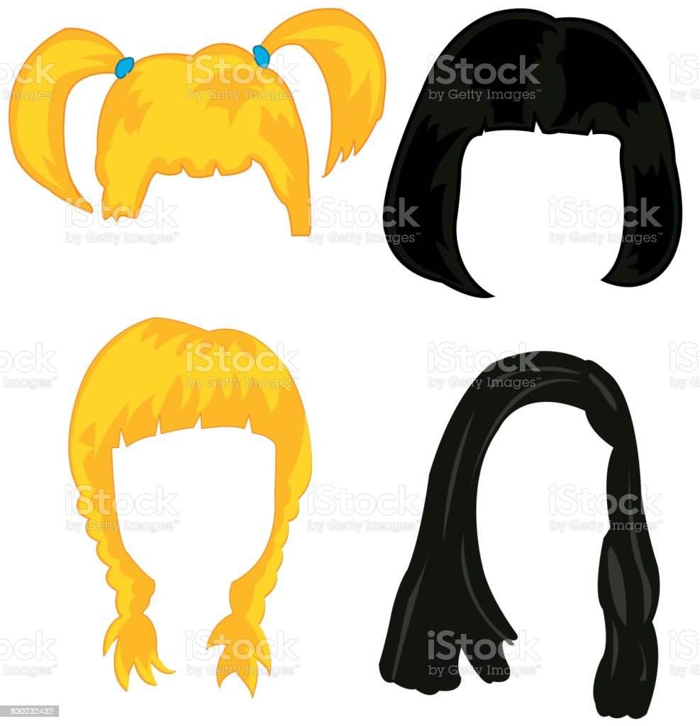 Feminine hairstyles wigs vector art illustration