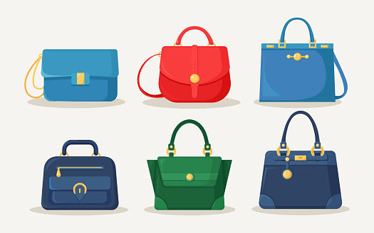 Feminine handbag for shopping, travel, vacation. Leather bag with handle isolated on white background. Beautiful casual collection of summer woman accessory. Vector flat design
