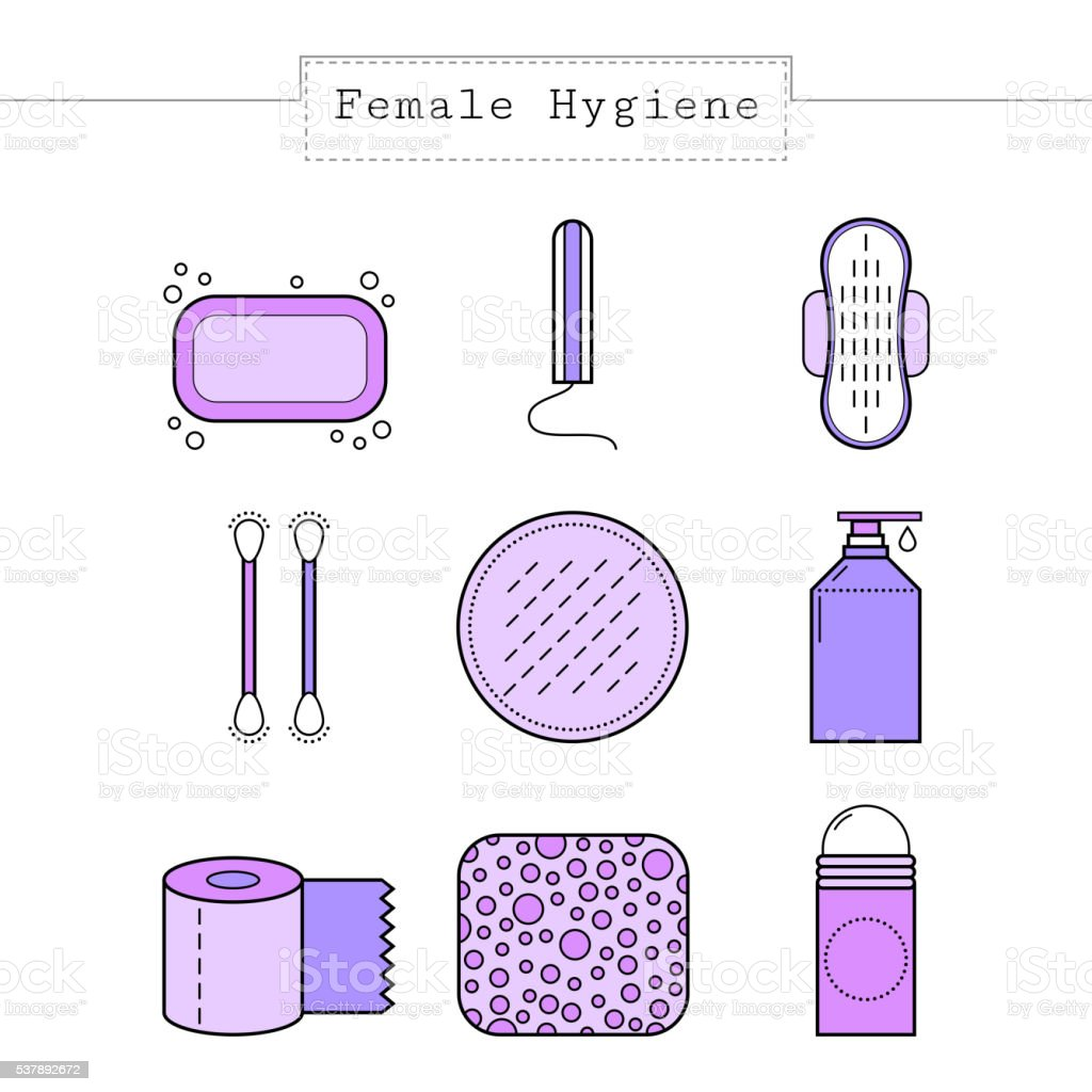 Feminine hygiene. Flat colored objects, icons. Cotton buds, sponge, soap. vector art illustration