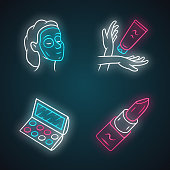 Feminine hygiene, makeup neon light icons set. Skin care attributes, cosmetic accessories glowing signs. Beauty salon products vector isolated illustrations. Face mask, hand cream, eyeshadow, lipstick