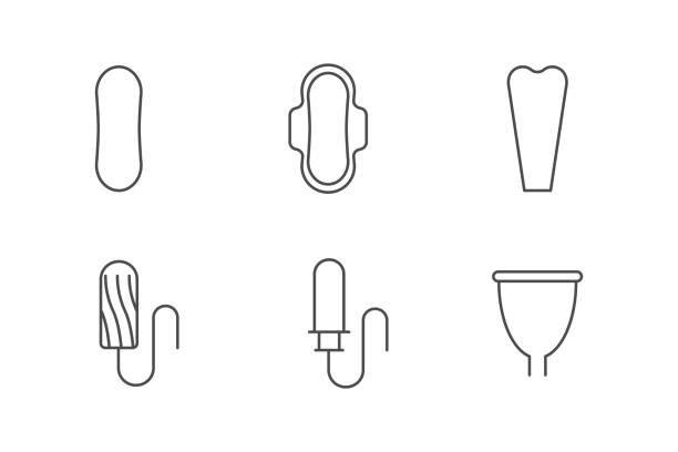 Feminine hygiene products icons Feminine hygiene products icons porous stock illustrations