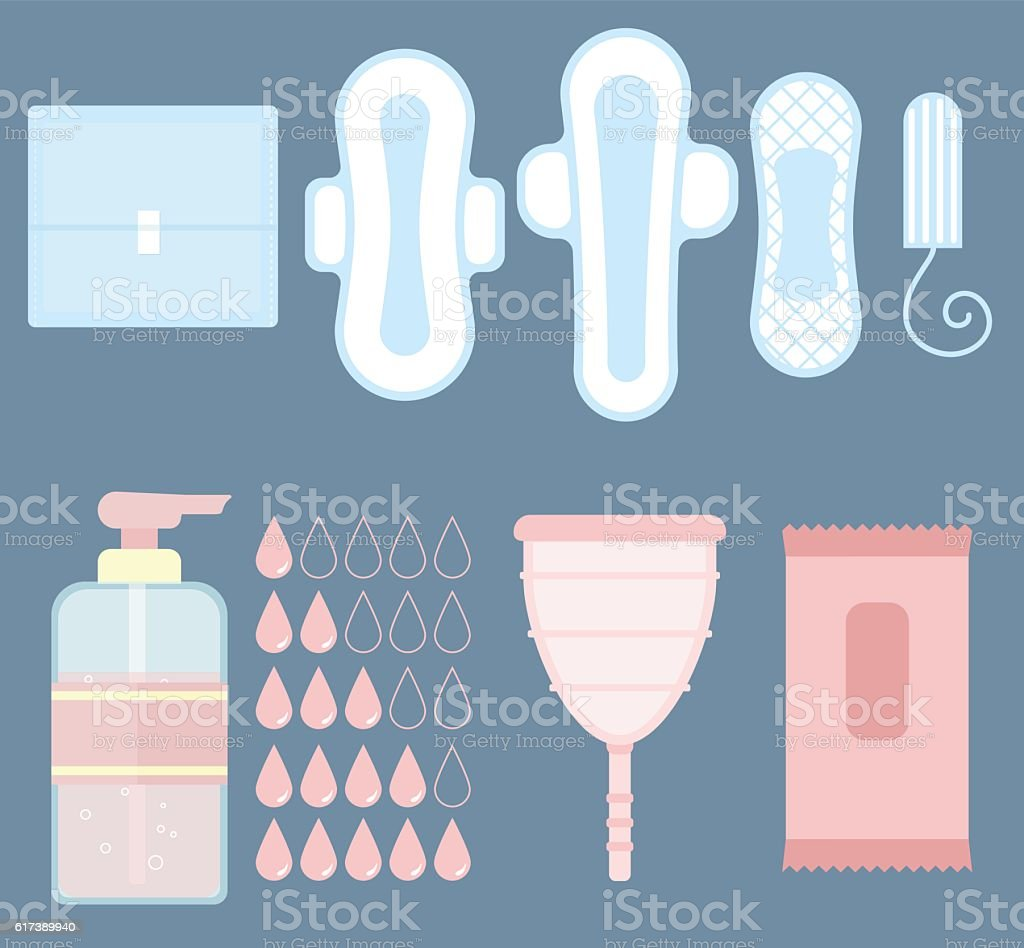 Feminine personal hygiene vector items set vector art illustration