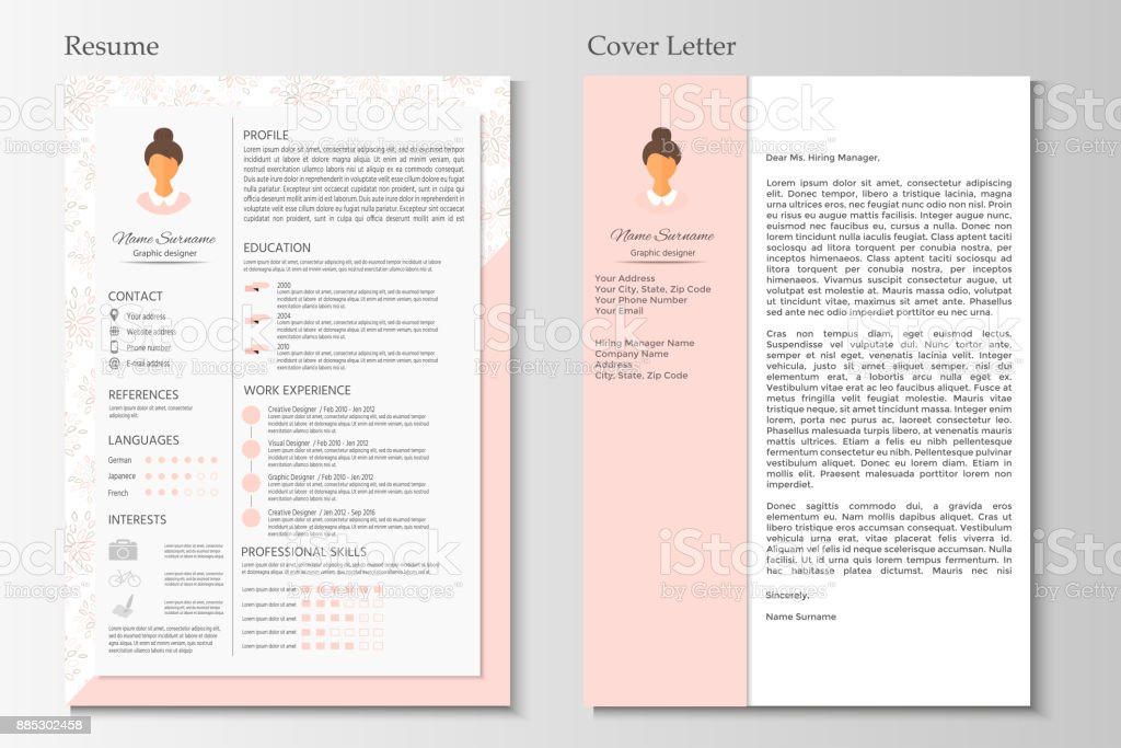 Feminine Resume And Cover Letter With Infographic Design ...