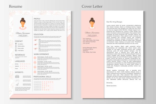 feminine resume and cover letter with infographic design. - resume templates stock illustrations
