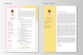 Feminine resume and cover letter with infographic design. Stylish CV set for women. Clean vector.